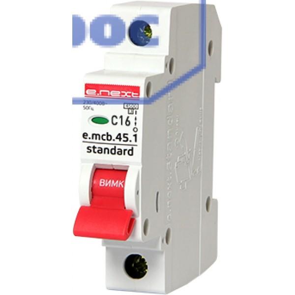 Модульный авт. выключатель e.mcb.stand.45.1.C16, 1р, 16А, C, 4,5 кА