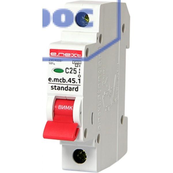 Модульный авт. выключатель e.mcb.stand.45.1.C25, 1р, 25А, C, 4,5 кА