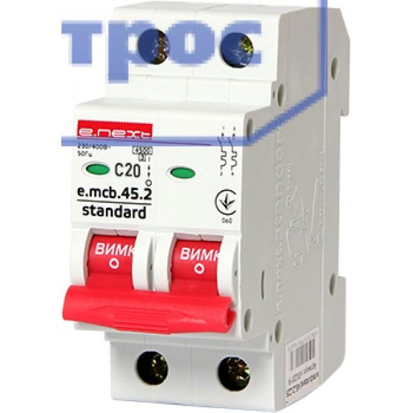 Модульный авт. выключатель e.mcb.stand.45.2.C20, 2р, 20А, C, 4,5 кА