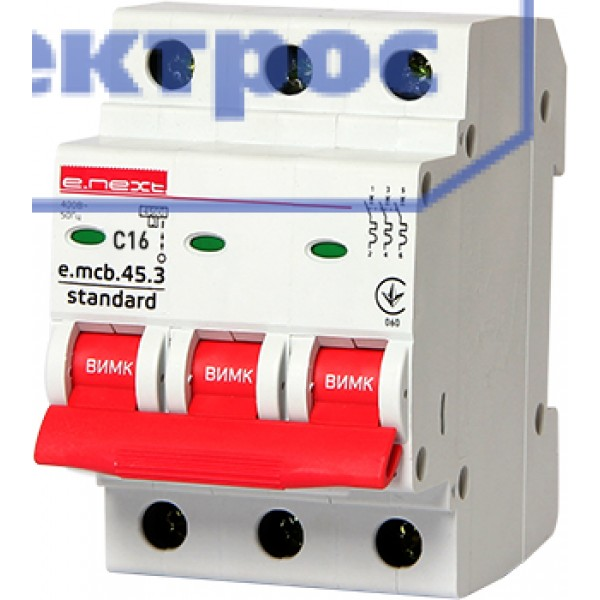 Модульный авт. выключатель e.mcb.stand.45.3.C16, 3р, 16А, C, 4,5 кА
