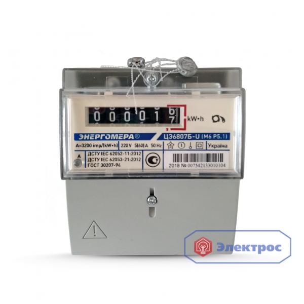 Электросчетчик ЦЭ6807Б-U K1.0 220B 5(60)А М6P5.1 однотарифный